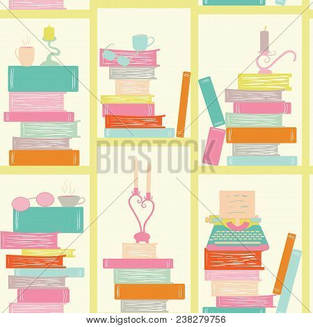 seamless pattern, bookshelf writer. books, candles, glasses, typewriter. Library Book Shelf Background. Books and Knowledge. Education Library Book Store Concept. Vector Flat illustration. stock photo