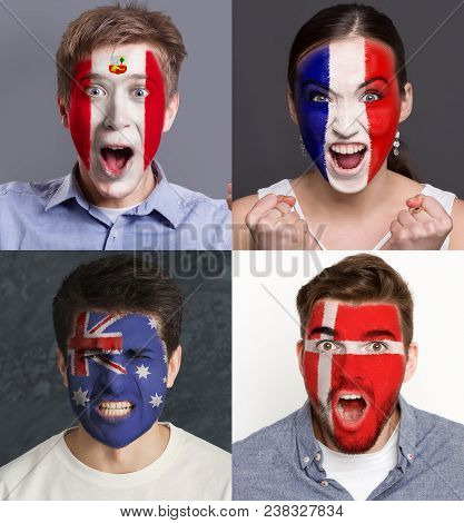 Emotional soccer fans with painted flags of France, Australia, Peru and Denmark on faces. Rooters of football worldcup competition between rival countries of group C. stock photo