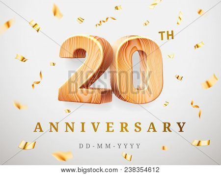 20 anniversary gold wooden numbers with golden confetti. Celebration 20th anniversary, number two and zero Template design for party, web, invitation, poster, game, booklet, event, leaflet, flyer, magazine stock photo