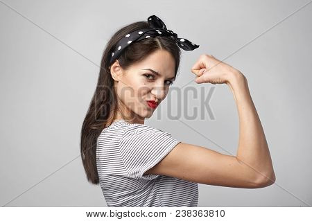Picture Of Confident Attractive Young Woman With Dark Loose Hair And Athletic Slim Body Posing Isola