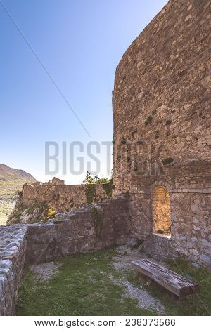 Massive walls of the ruins of the old citadel in Stari Bar town near Bar city, Montenegro stock photo