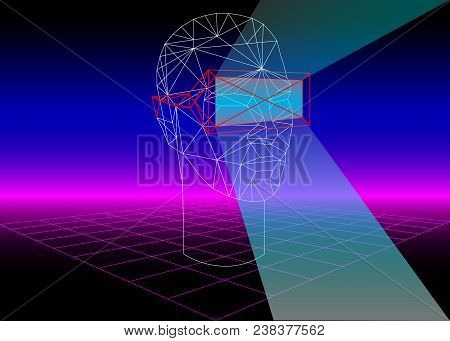 VR Box Virtual Reality 3D Glass for 3D Games and 3D Movies. 80s Retro Sci-Fi Background with VR Headset. Vector futuristic synth retro wave illustration in 1980s posters style. Suitable for any print stock photo