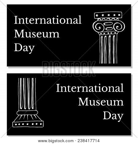 International Museum Day. The concept of event. 18 May. Holiday name and two Greek vases. Black background. Flyers for event participants. stock photo