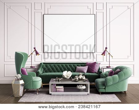 Classic interior room with copy space.Sofa and armchairs,sidetables with lamps,table with decor. Interior mockup.Digital ilustration.3d rendering stock photo