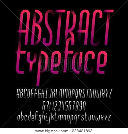 Abstract alphabet typeface. Oblique type letters and numbers. Uppercase and lowercase. Vector font for your design. stock photo