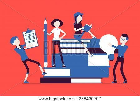 Students with giant books. School or college pupils studying, happy in gaining knowledge, academic training, holding bulb, pencil. Science, education concept. Vector illustration, faceless characters stock photo