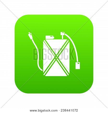 Pest control icon green vector isolated on white background stock photo