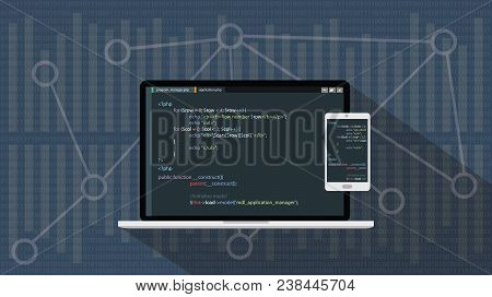 php hypertext preprocessor programming language with laptop notebook and smartphone vector graphic illustration stock photo