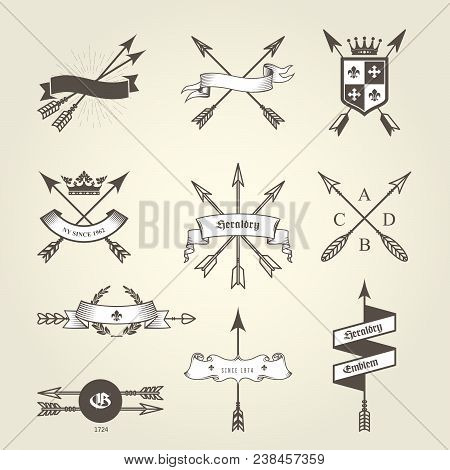 Set of coat of arms with bow arrows - emblems and blazons, heraldic seals stock photo