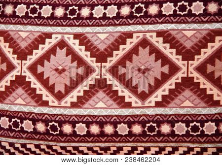 Texture of berber traditional wool carpet with geometric pattern, Morocco, Africa stock photo