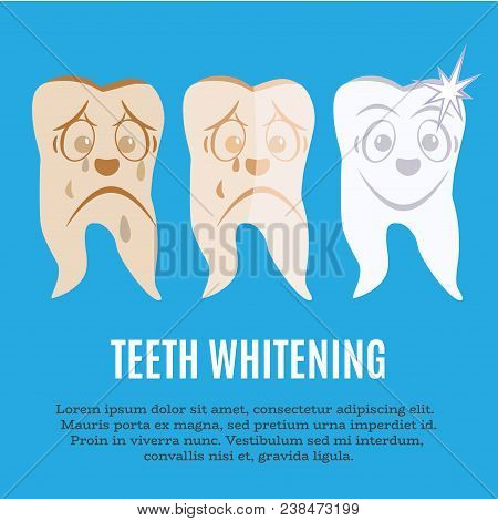 Teeth whitening concept vector flat illustration. Tooth before, during whitening procedure and after it. Tooth whitening treatment ad poster, banner design template. stock photo
