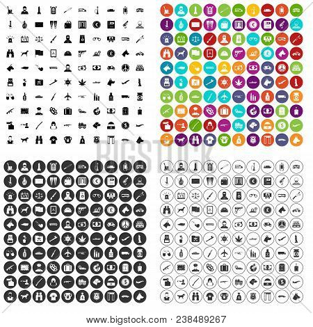100 smuggling  icons set vector in 4 variant for any web design isolated on white stock photo