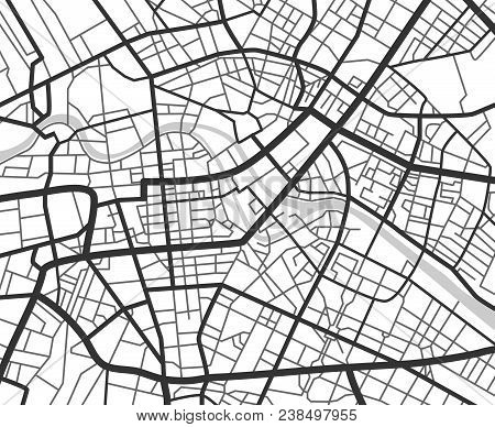Abstract city navigation map with lines and streets. Vector black and white urban planning scheme. Illustration of plan street map, road graphic navigation stock photo