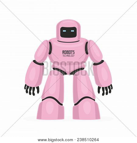 Pink robot. isolated on white background. Vector Illustration stock photo