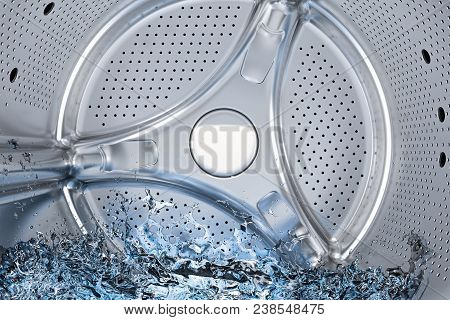 Inside washing machine, drum of front-loading washing machine with water closeup, 3D rendering stock photo