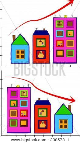 Vector with houses increasing and decreasing by size stock photo