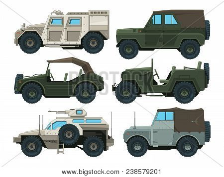 Colored pictures of military heavy vehicles. Military car transportation, transport auto for war, vector illustration stock photo