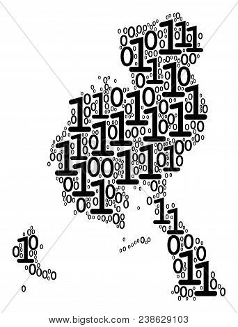 Veraguas Province Map mosaic icon of zero and null digits in various sizes. Vector digital symbols are combined into veraguas province map mosaic design concept. stock photo