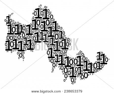 Tilos Greek Island Map mosaic icon of zero and null digits in variable sizes. Vector digital symbols are formed into Tilos Greek Island Map mosaic design concept. stock photo