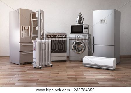 Home appliancess. Set of household kitchen technics in the new appartments or kitchen. E-commerce on