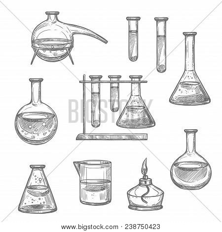 Laboratory glassware and equipment sketch set. Chemical laboratory glass flask, test tube and beaker, retort and spirit lamp isolated icon for chemical research and science experiment themes design stock photo