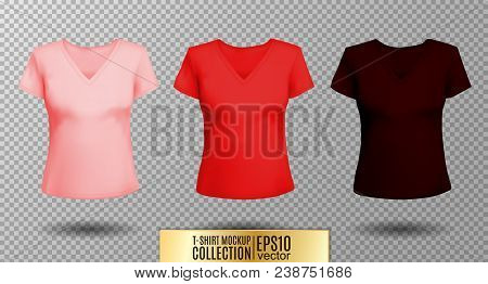 Women's black t-shirt with short sleeve and V-neck in front and back views. Vector template. Fully editable handmade mesh. Pink, red, vinous stock photo