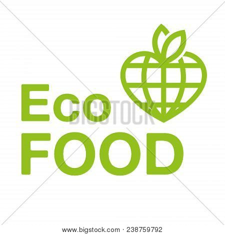 Vegan eco food logo emblem icon vector design. Green logo isolated white background. Healthy fresh light eco vegetarian 100 natural raw vegan eat clean earth vegetable organic. Green heart leaf. stock photo