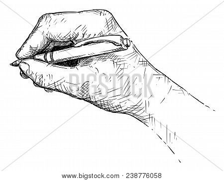 Vector artistic pen and ink drawing illustration of hand writing with ballpoint pen. stock photo