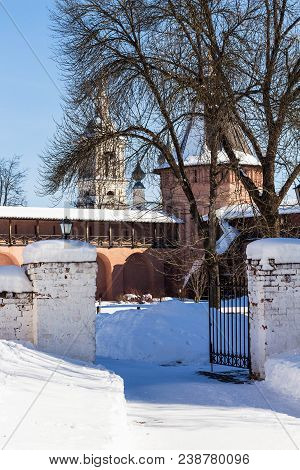 view of courtyard of Monastery of Our Savior and St Euthymius in Suzdal town in winter in Vladimir oblast of Russia stock photo