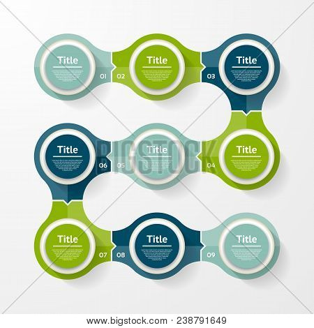 Vector infographic template for diagram, graph, presentation and chart. Business concept with 9 options, parts, steps or processes stock photo