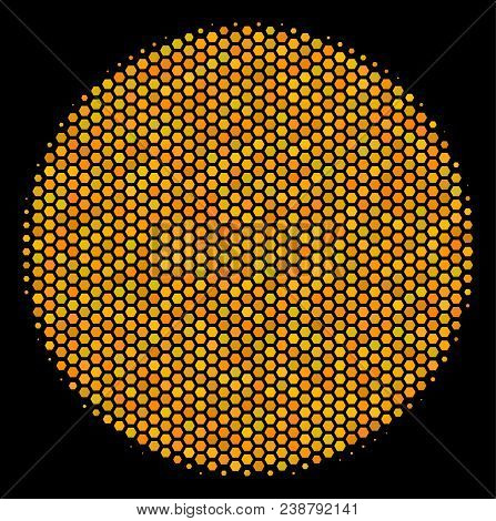 Halftone hexagon Filled Circle icon. Bright yellow pictogram with honey comb geometric pattern on a black background. Vector mosaic of filled circle icon done of honeycomb elements. stock photo