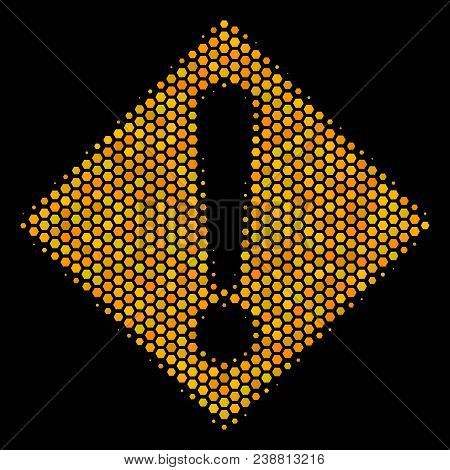 Halftone hexagonal Warning icon. Bright golden pictogram with honeycomb geometric pattern on a black background. Vector concept of warning icon done of honeycomb elements. stock photo
