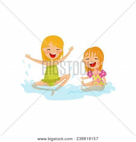 Cheerful kids making water splashes. Children having fun at sea. Summer recreation. Outdoor activity. Cartoon characters of two little girls in swimwear. Colorful flat vector design isolated on white. stock photo