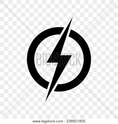 Power lightning logo icon. Vector black thunder bolt symbol isolated on transparent background stock photo