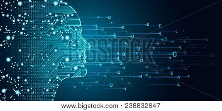 Big data and artificial intelligence concept. Machine learning and cyber mind domination concept in form of men face outline outline with circuit board and binary data flow on blue background. stock photo