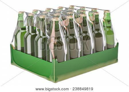 Package of glass drink bottles in shrink film, 3D rendering stock photo