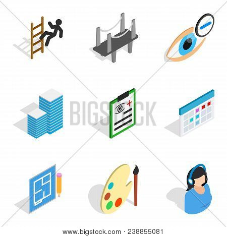 Excellent work icons set. Isometric set of 9 excellent work vector icons for web isolated on white background stock photo
