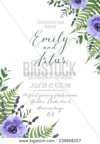 Wedding floral invite, invitation, save the date card design. Violet anemone flowers, lavender blossom, forest greenery, fern leaves, eucalyptus branches bouquet frame. Elegant, lovely vector template stock photo