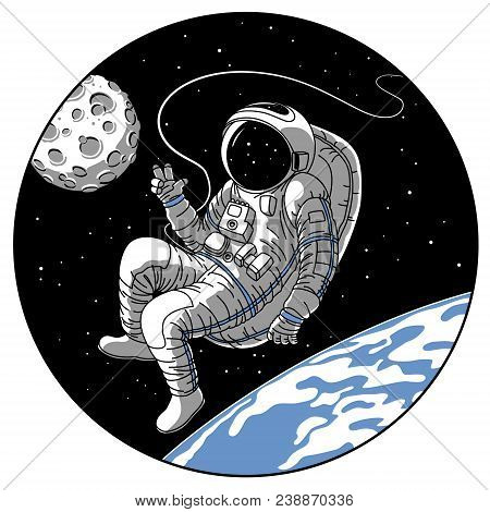 Astronaut or cosmonaut in open space vector illustration. Sketch retro design of astronaut in space suit on earth or moon planet orbit showing hello hand gesture in porthole window of spaceship rocket stock photo