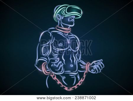 Slave man in chains and helmet glasses VR virtual reality. Man wearing vr glasses. Abstract world with neon lines.  illustration stock photo