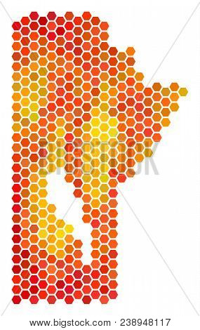 Manitoba Province map. Vector hexagon geographic scheme drawn with fire color tones. Abstract Manitoba Province map collage is made of hot hexagon elements. stock photo