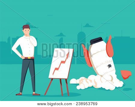 Businessman with plan and rocket crashed. Business failure, the rocket fall down. Startup rocket crash. Young unhappy man sad about launching not working project, management failed to achieve profit. stock photo
