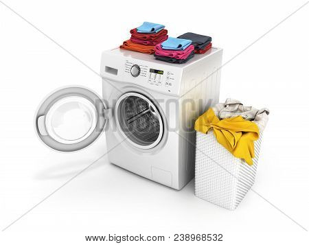 Concept of washing clothes Washing machine with an open door colored towels and washing basket with dirty clothes isolated on white background 3d render stock photo