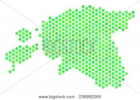 Green Estonia map. Vector hex tile geographic map drawn with fresh green color tinges. Abstract Estonia map composition is done with hexagonal spots. stock photo