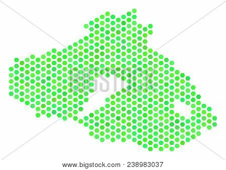 Green Greek Lesbos Island map. Vector hex tile geographic plan in green color tinges. Abstract Greek Lesbos Island map mosaic is made of hex-tile elements. stock photo