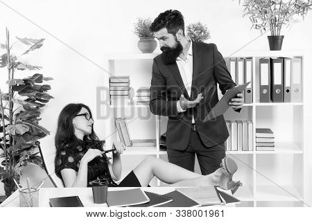 Girl boss. Lazy sexy secretary indifferent. Manager man business report unhappy results. Keep calm. Stress resistance concept. Inability to rest relax or let down. Office stress. Stress at work. stock photo