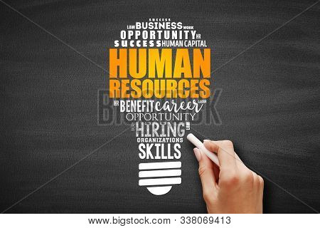 HR - Human Resources light bulb word cloud collage, business concept background stock photo