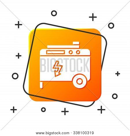 White Portable power electric generator icon isolated on white background. Industrial and home immovable power generator. Orange square button. Vector Illustration stock photo