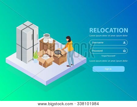 Relocation service application background with username and password isometric vector illustration stock photo
