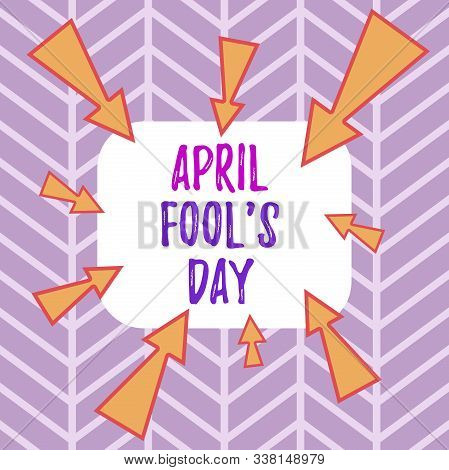 Word writing text April Fool S Day. Business concept for Practical jokes humor pranks Celebration funny foolish Asymmetrical uneven shaped format pattern object outline multicolour design. stock photo